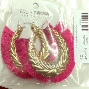 Fashion Nova large hot pink fringe earrings